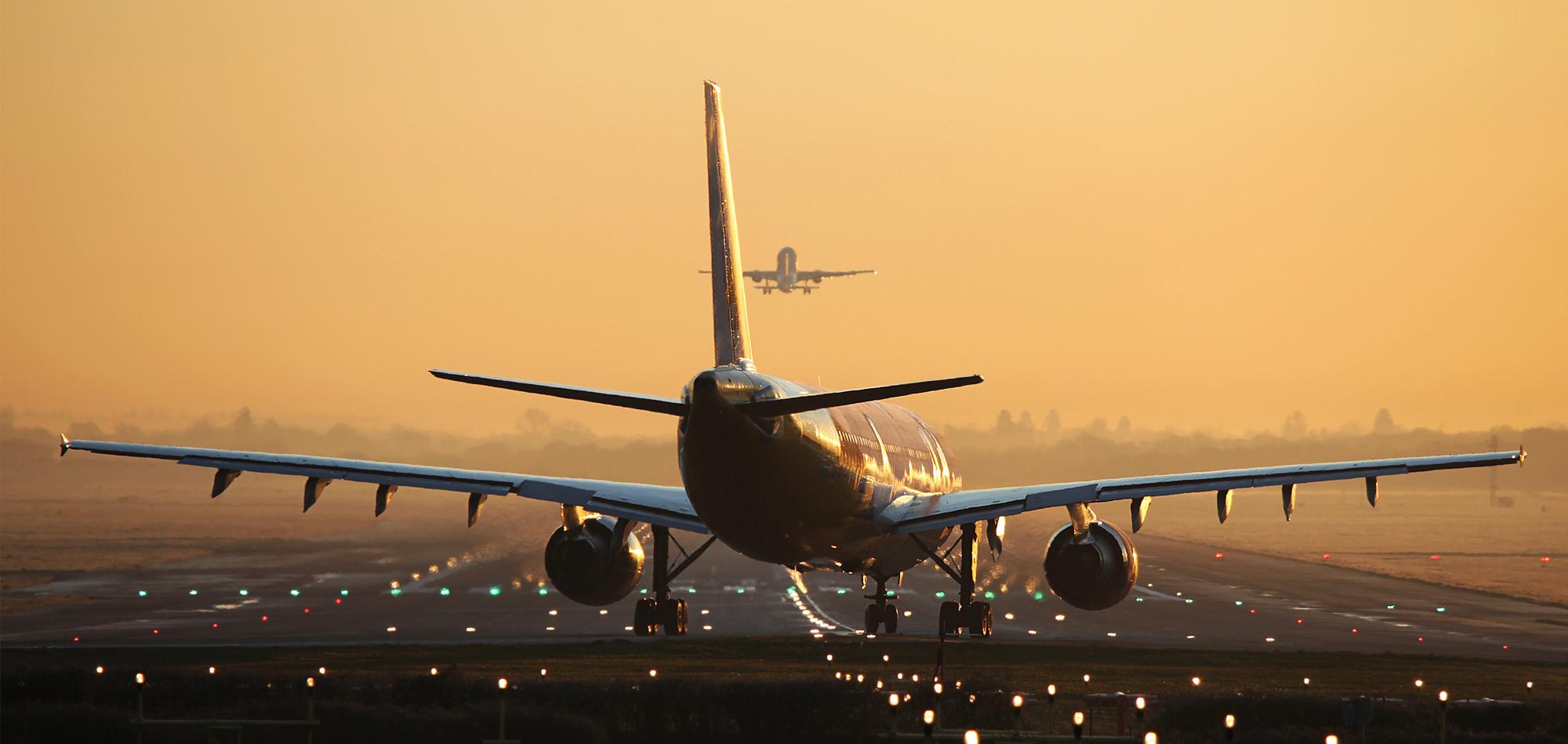 Aeroplane image on run way